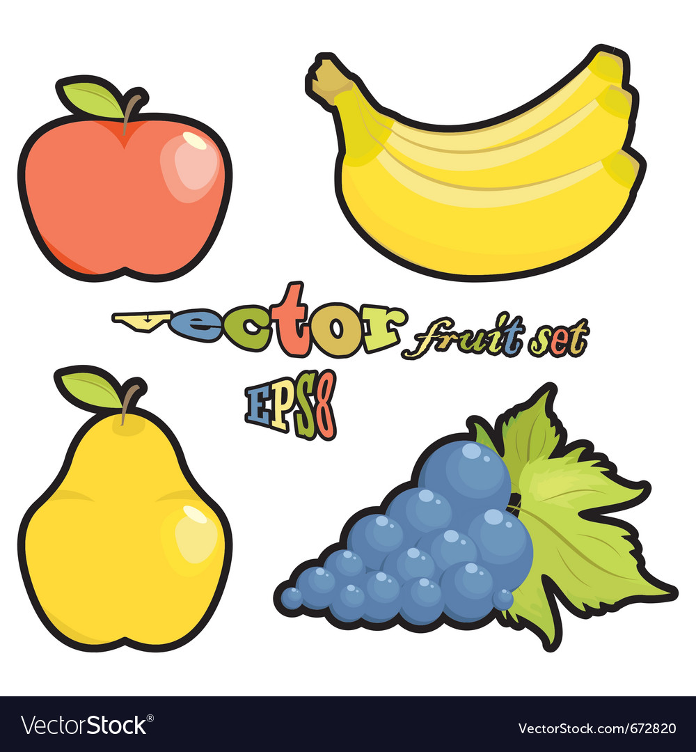 Fruit set apple pear grapes bananas on white backg vector | Price: 1 Credit (USD $1)