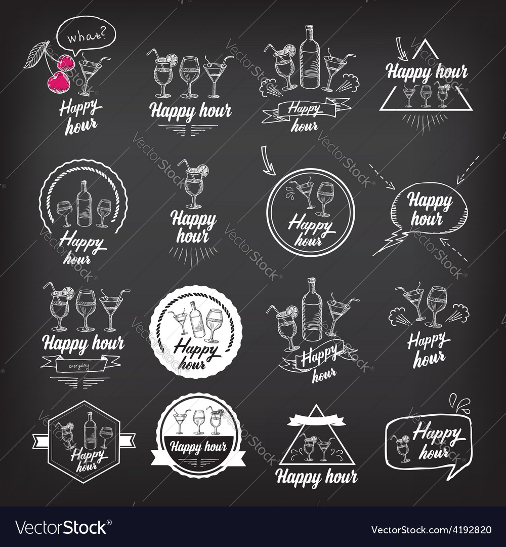 Happy hour party invitation cocktail chalkboard vector | Price: 1 Credit (USD $1)