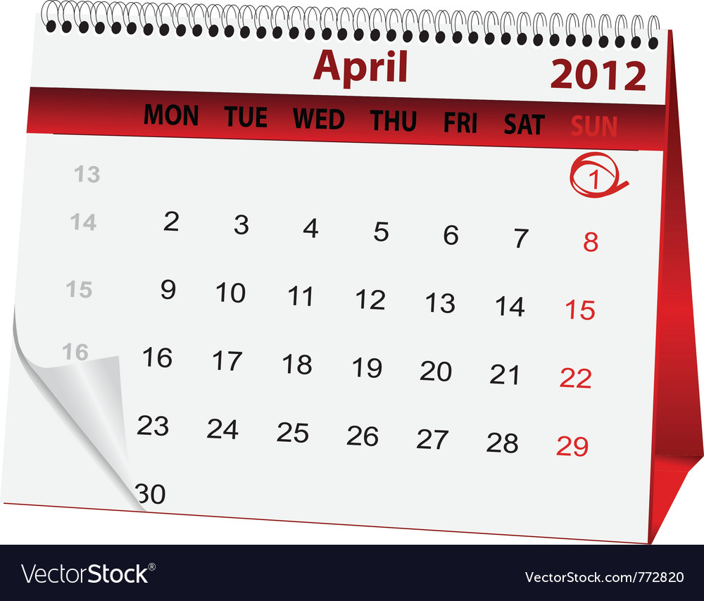 Holiday calendar april 1 vector | Price: 1 Credit (USD $1)