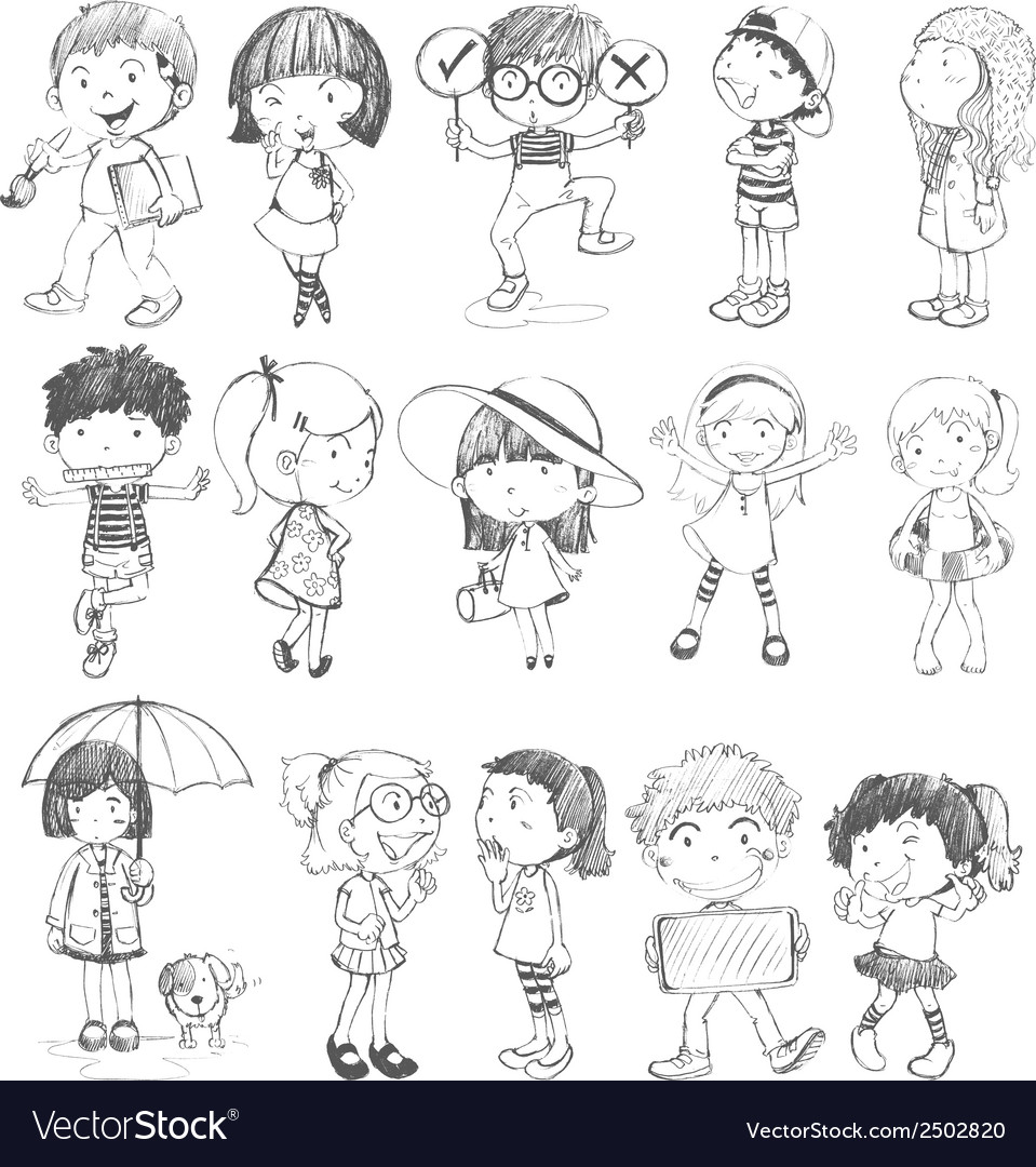 Kids in doodle design vector | Price: 1 Credit (USD $1)