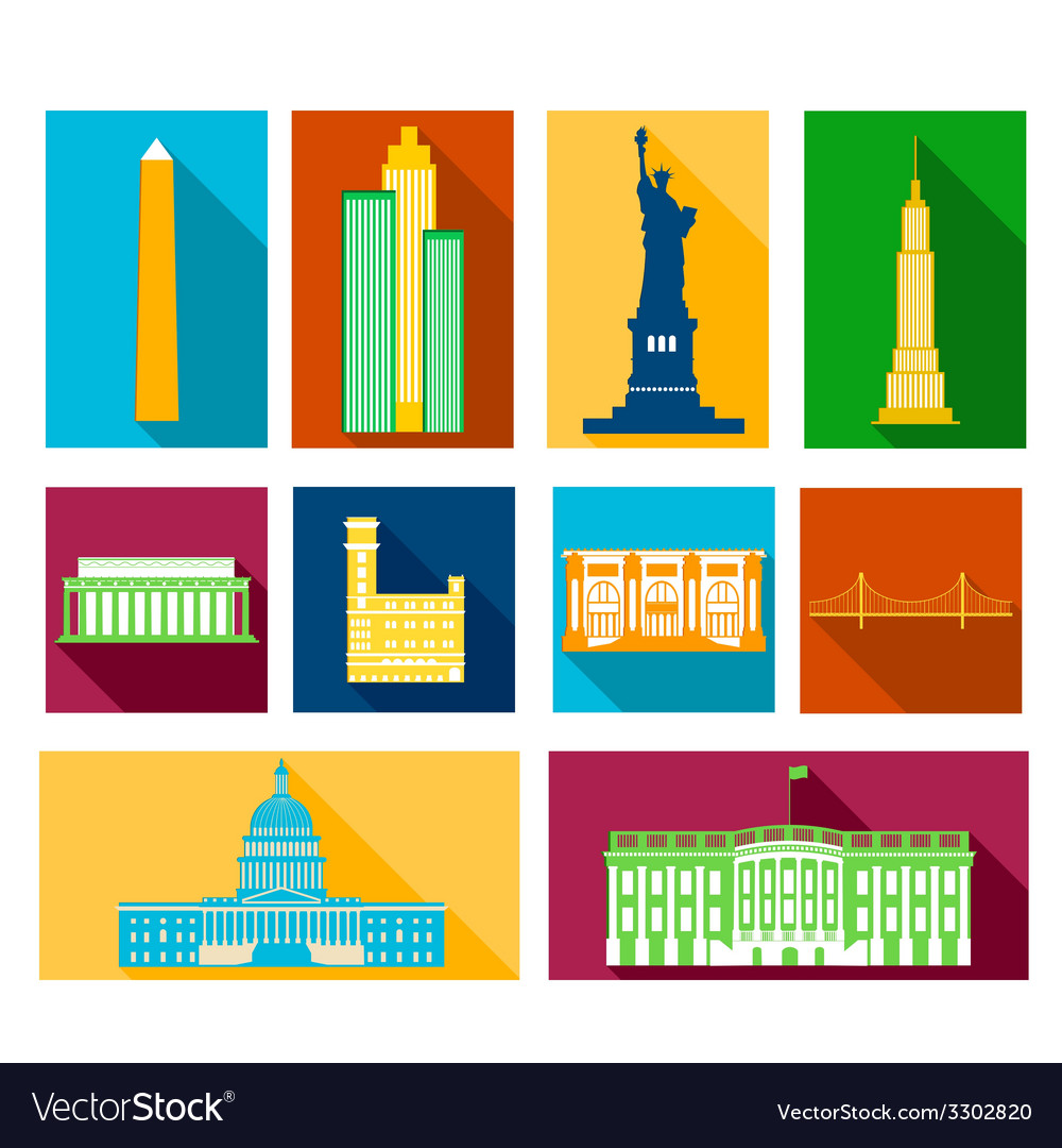 Landmarks of united states of america vector | Price: 1 Credit (USD $1)