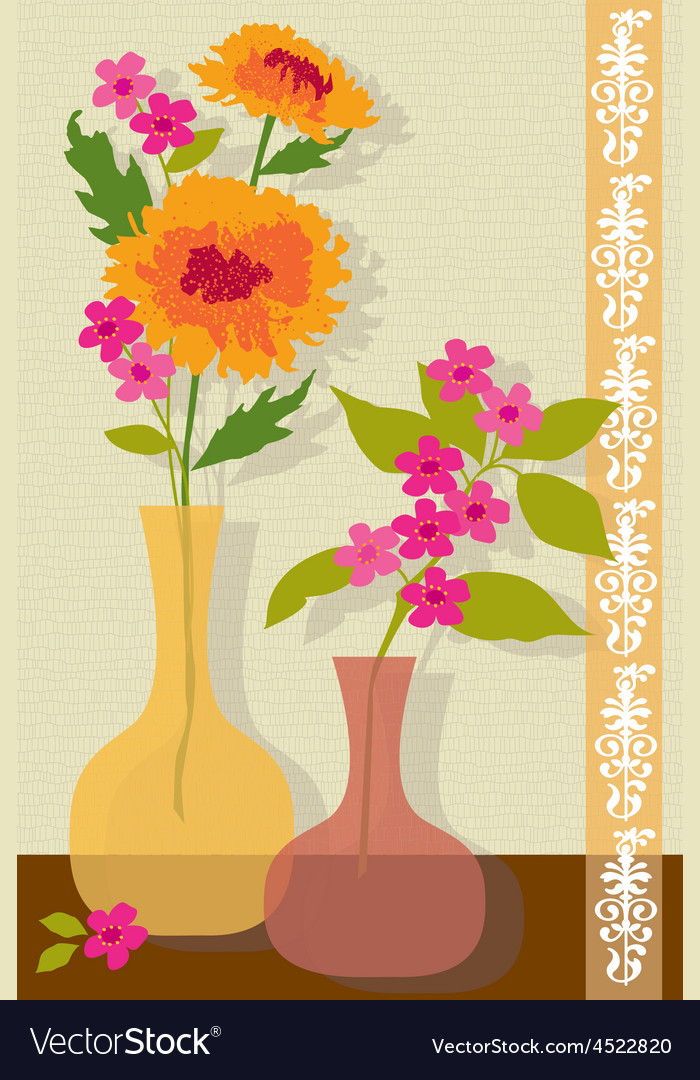 Pink and orange flowers vector | Price: 1 Credit (USD $1)