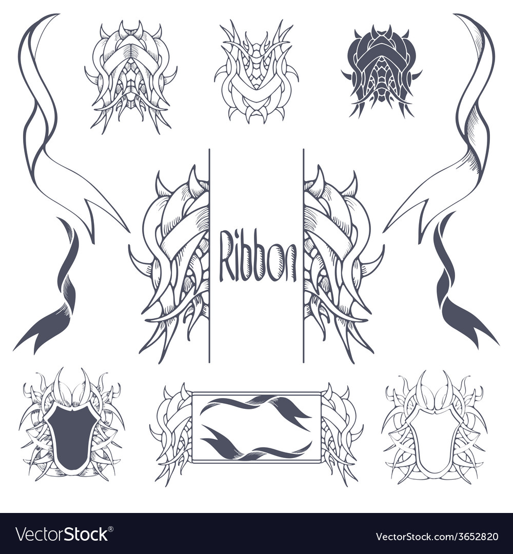 Ribbon banners hand drawn set vector | Price: 1 Credit (USD $1)