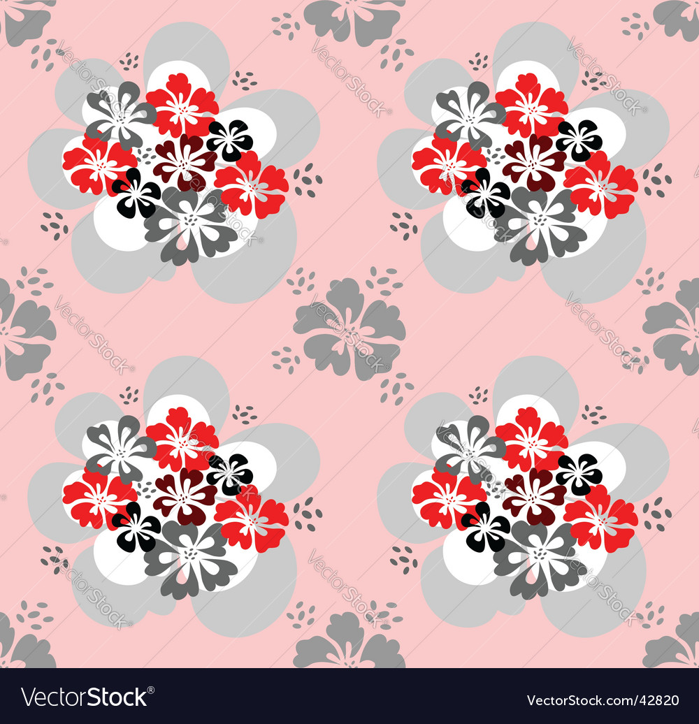 Seamless pattern with flowers design vector | Price: 1 Credit (USD $1)