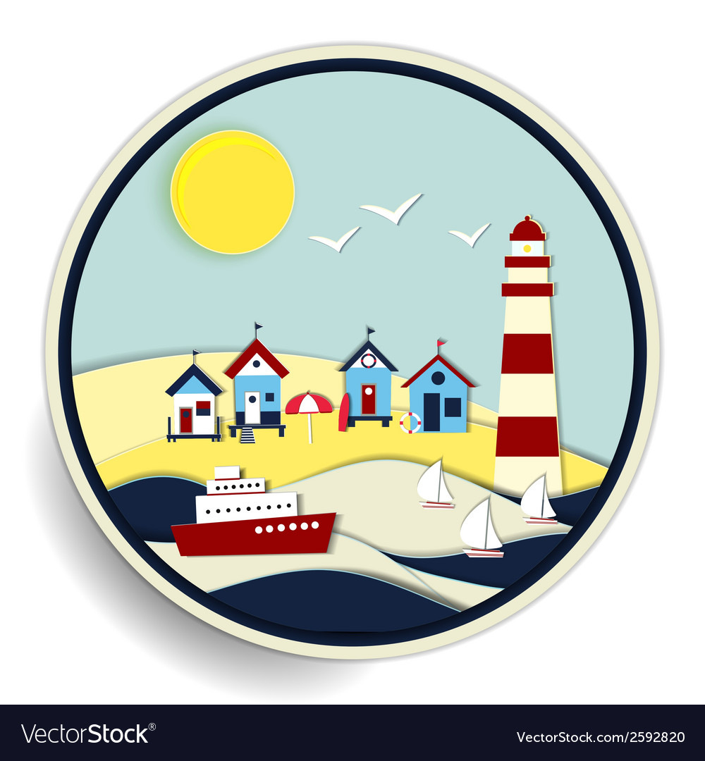 Seascape with lighthouse and ships badge vector | Price: 1 Credit (USD $1)