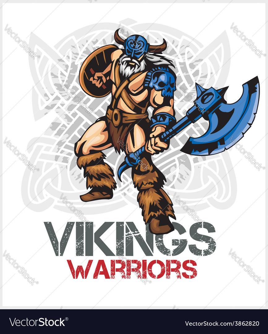 Viking norseman mascot cartoon with ax and shield vector | Price: 3 Credit (USD $3)