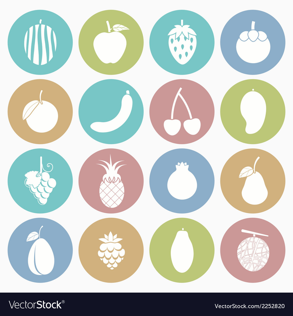 White icons fruit vector | Price: 1 Credit (USD $1)
