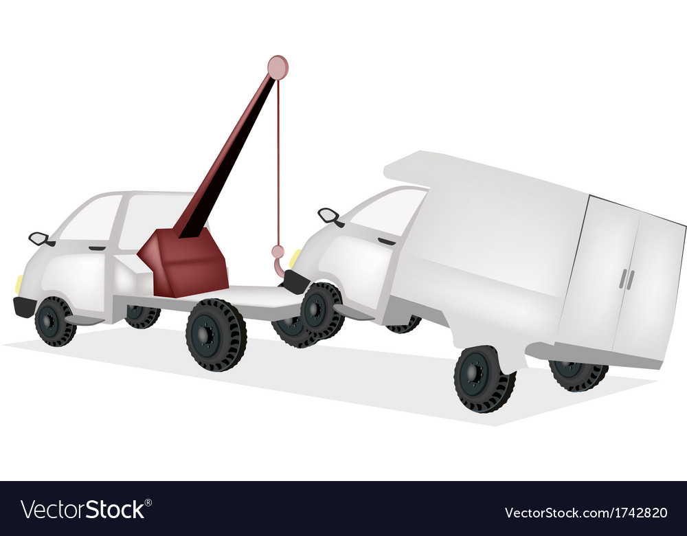 Wrecker tow truck pulling a car after an accident vector | Price: 1 Credit (USD $1)