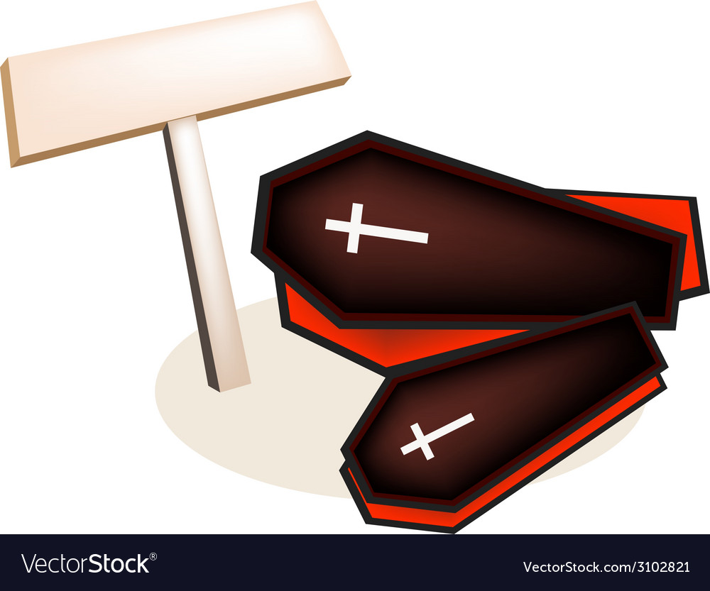 Black coffins with wooden placard vector | Price: 1 Credit (USD $1)