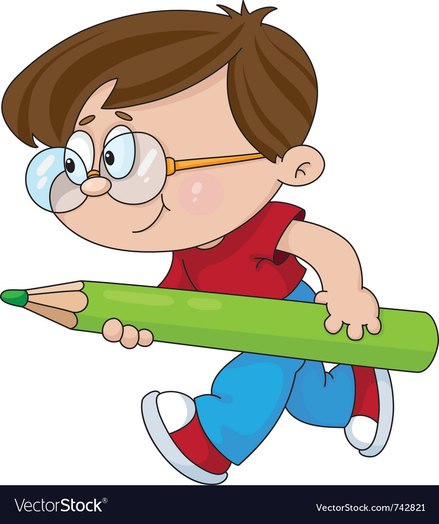 Boy with a pencil vector | Price: 3 Credit (USD $3)