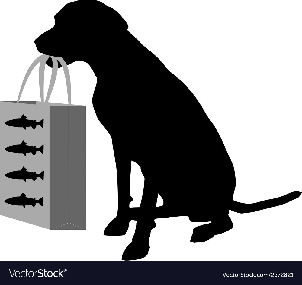 Dog shopping fish vector | Price: 1 Credit (USD $1)