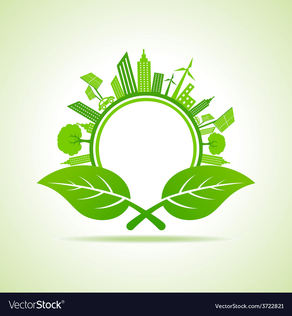 Ecology concept - eco cityscape with leafs vector | Price: 1 Credit (USD $1)