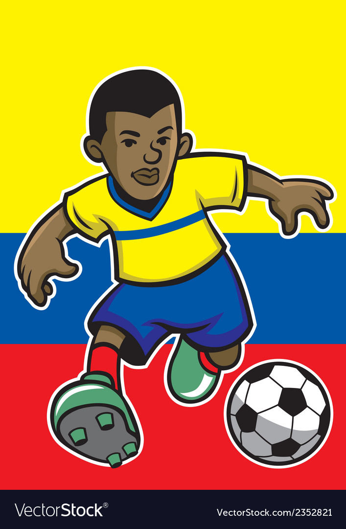 Ecuador soccer player with flag background vector | Price: 1 Credit (USD $1)