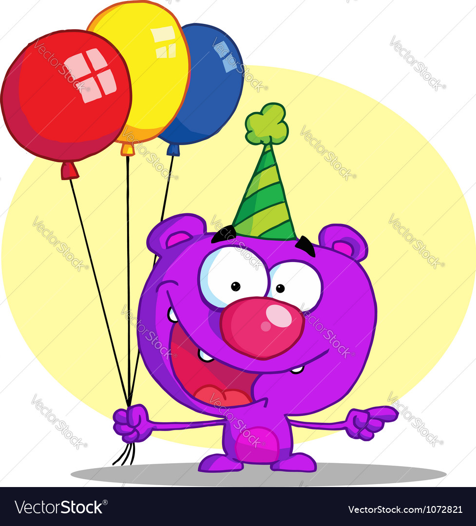 Happy bear in party hat with balloons vector | Price: 1 Credit (USD $1)