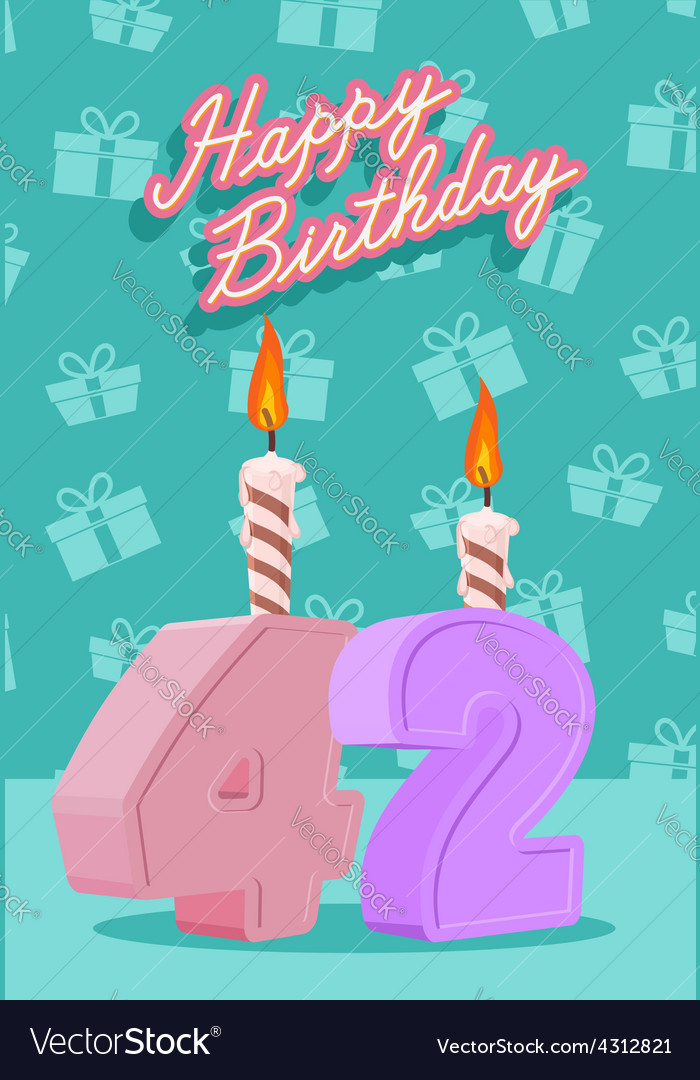 Happy birthday age 42 announcement and celebration vector | Price: 1 Credit (USD $1)