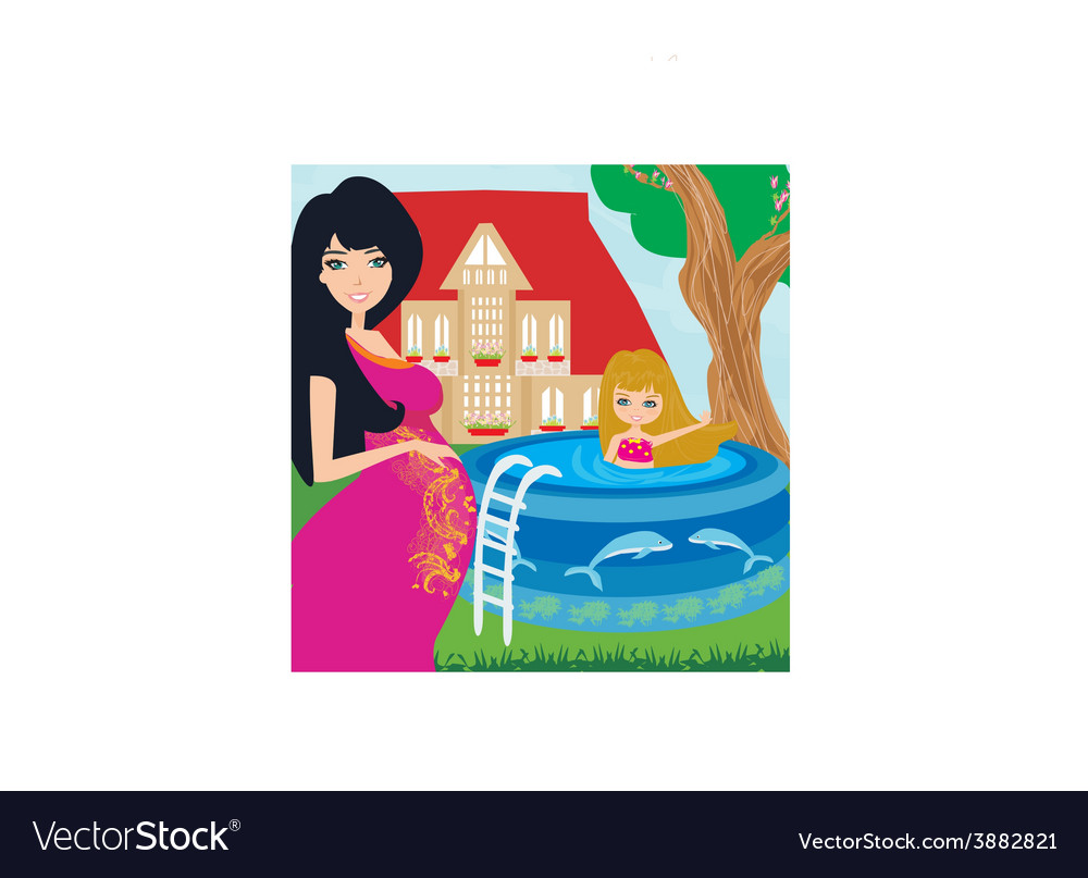 Little girl in outdoor pool and her young pregnant vector | Price: 1 Credit (USD $1)