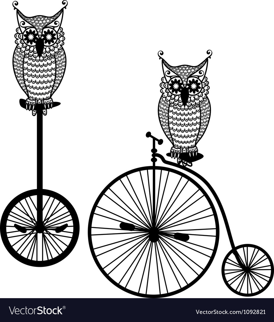 Owls with old bicycle vector | Price: 1 Credit (USD $1)