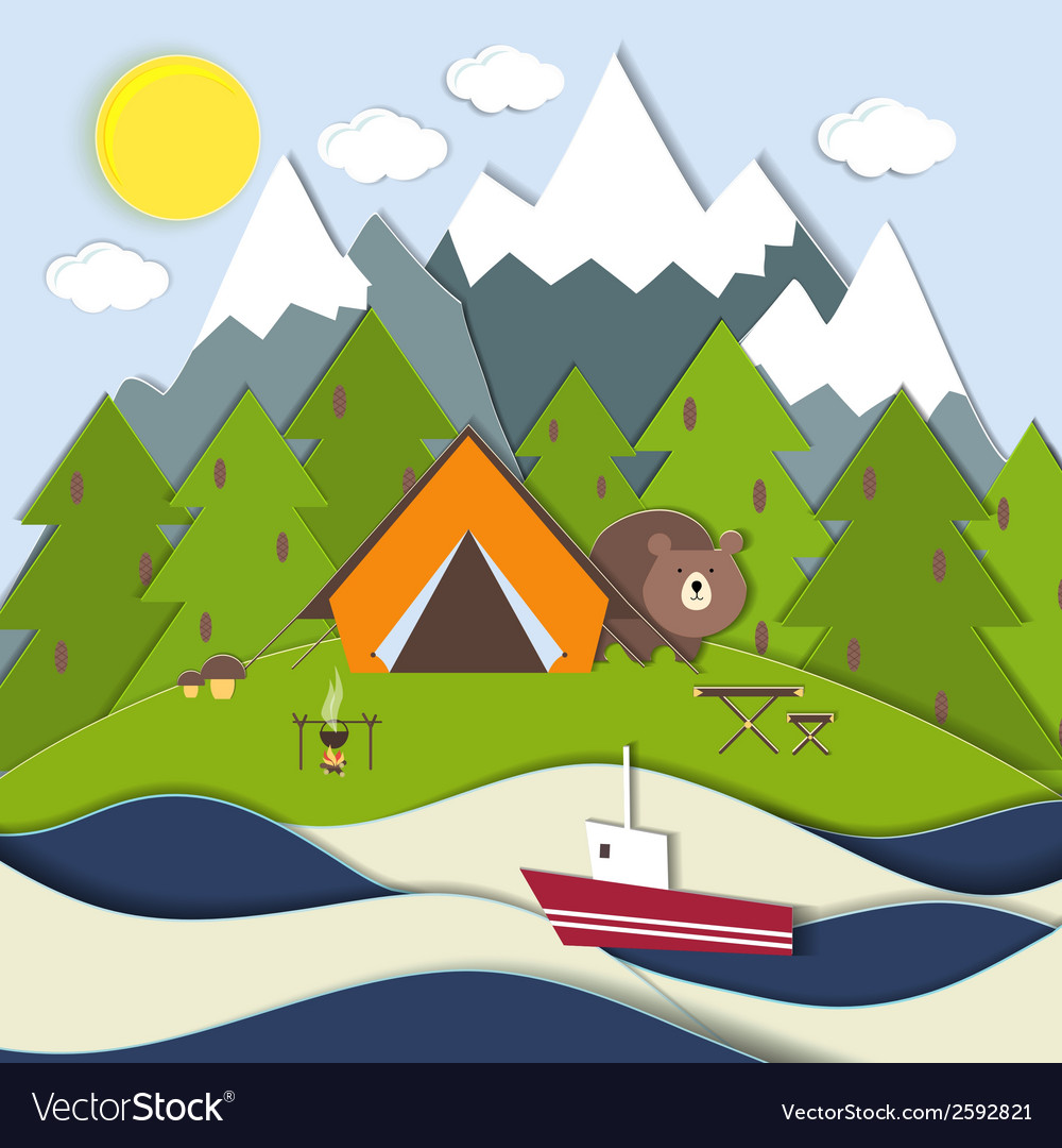 Picnic on the shore of a mountain lake vector | Price: 1 Credit (USD $1)