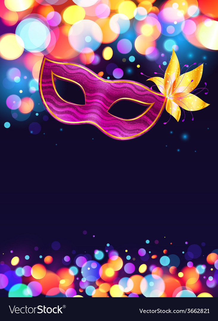 Pink carnival mask and bokeh lights dark blue vector | Price: 1 Credit (USD $1)