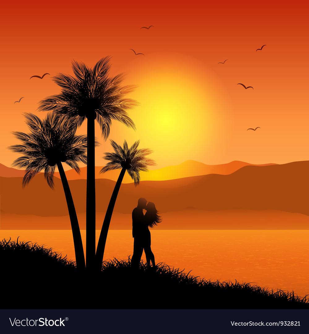 Romantic sunset vector | Price: 1 Credit (USD $1)