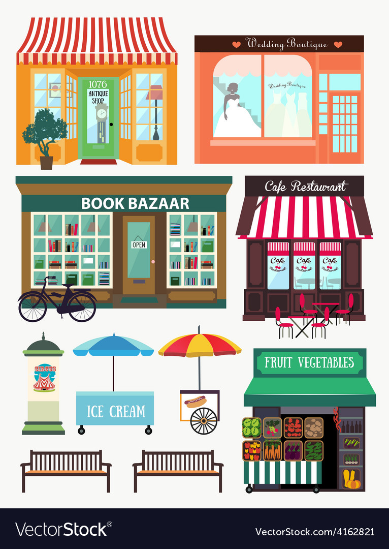 Shops and vitrine elements seamless pattern with vector | Price: 1 Credit (USD $1)