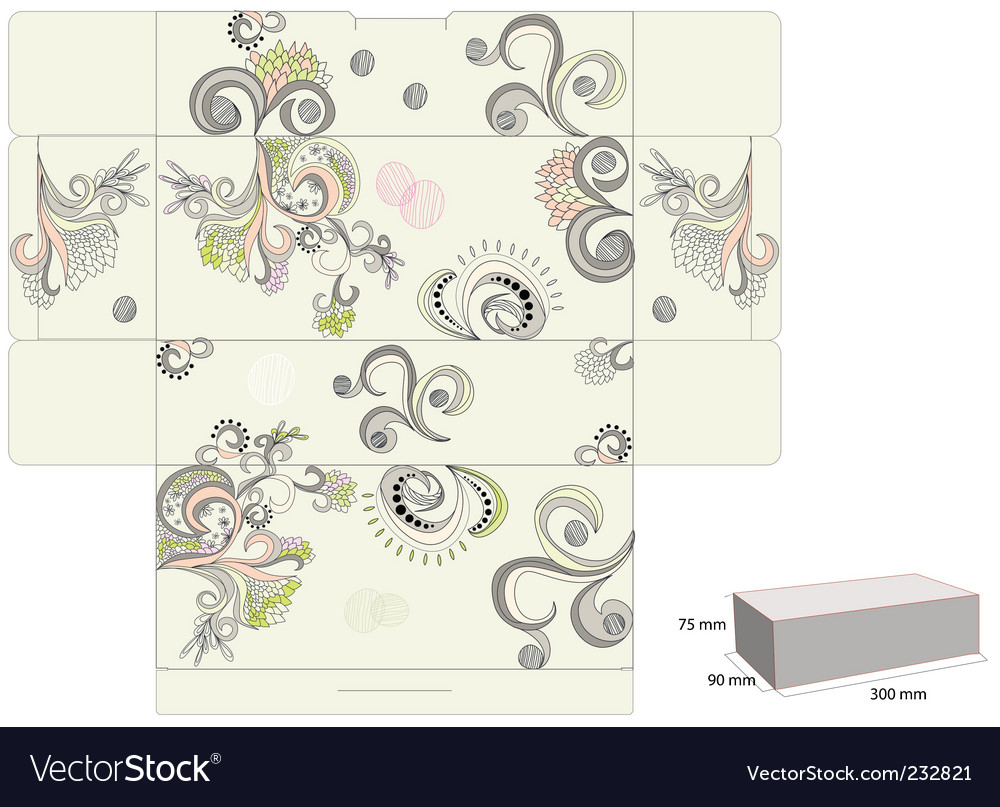 Template for decorative box vector | Price: 1 Credit (USD $1)