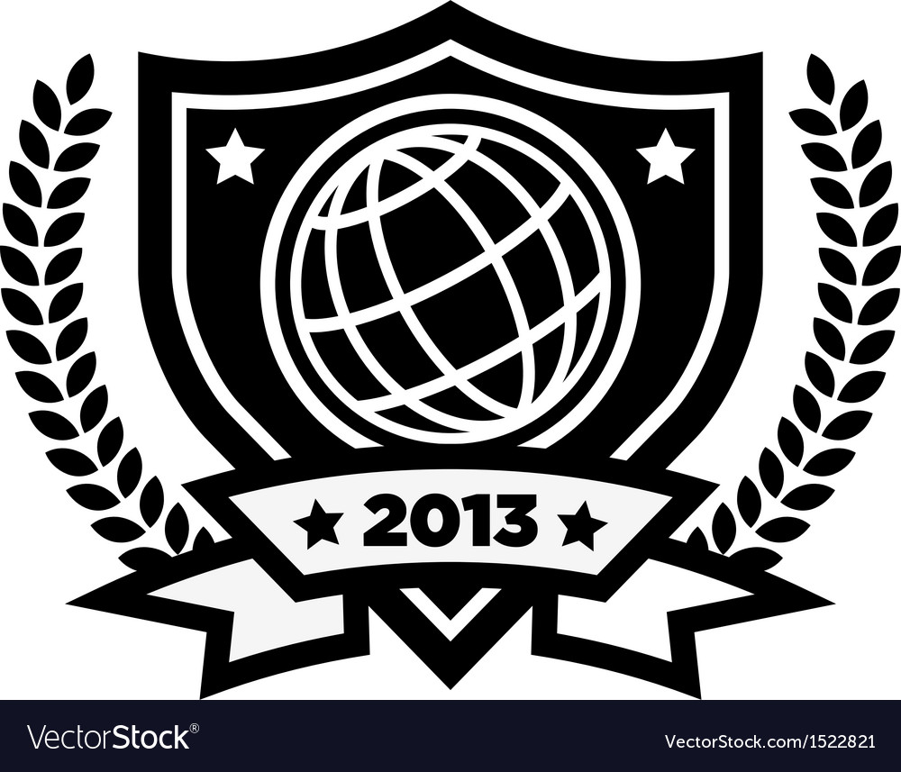 World globe emblem vector | Price: 1 Credit (USD $1)