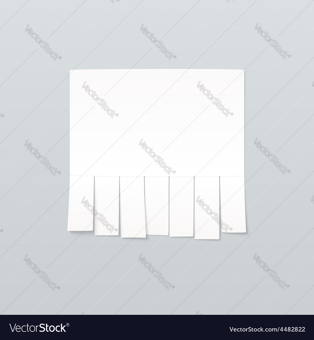 Blank sheet of paper advertising with cut slips vector   Price: 1 Credit (USD $1)
