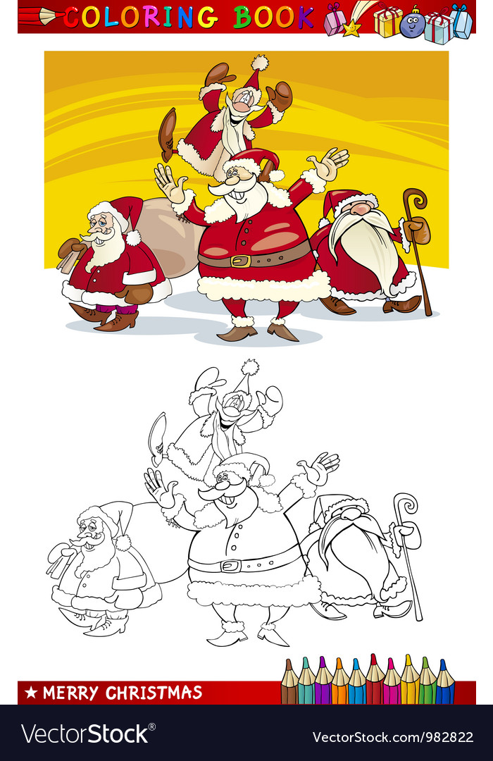 Cartoon santa claus group for coloring vector | Price: 3 Credit (USD $3)