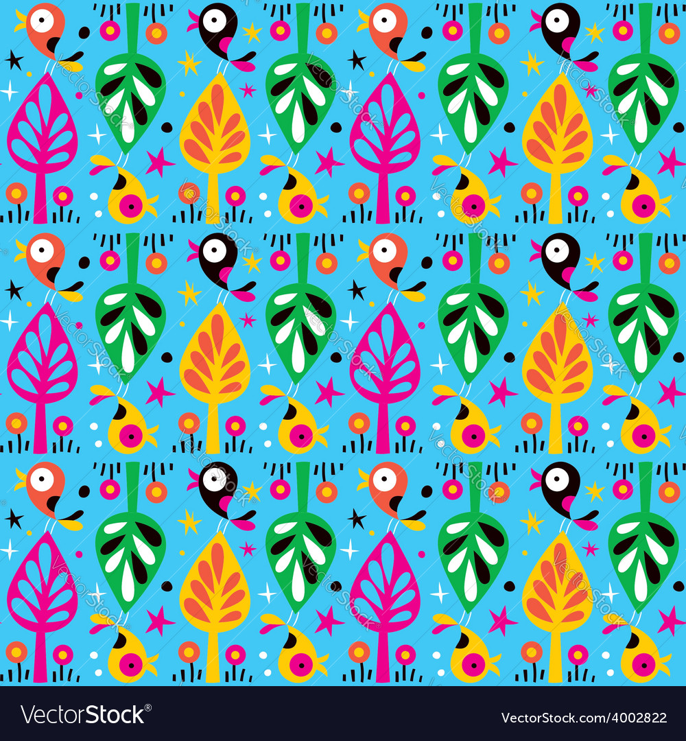 Cute birds in the trees nature pattern vector | Price: 1 Credit (USD $1)