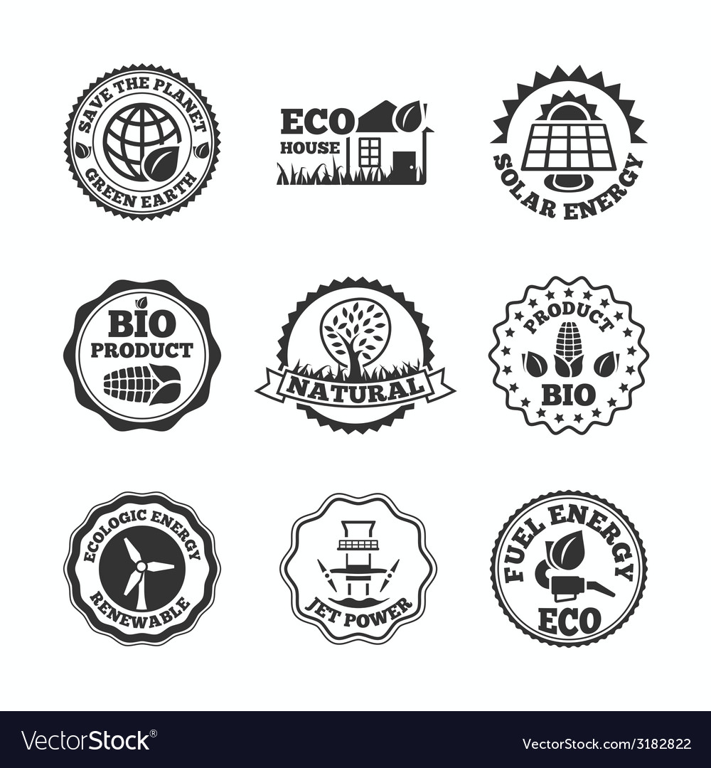 Eco energy labels set vector | Price: 1 Credit (USD $1)