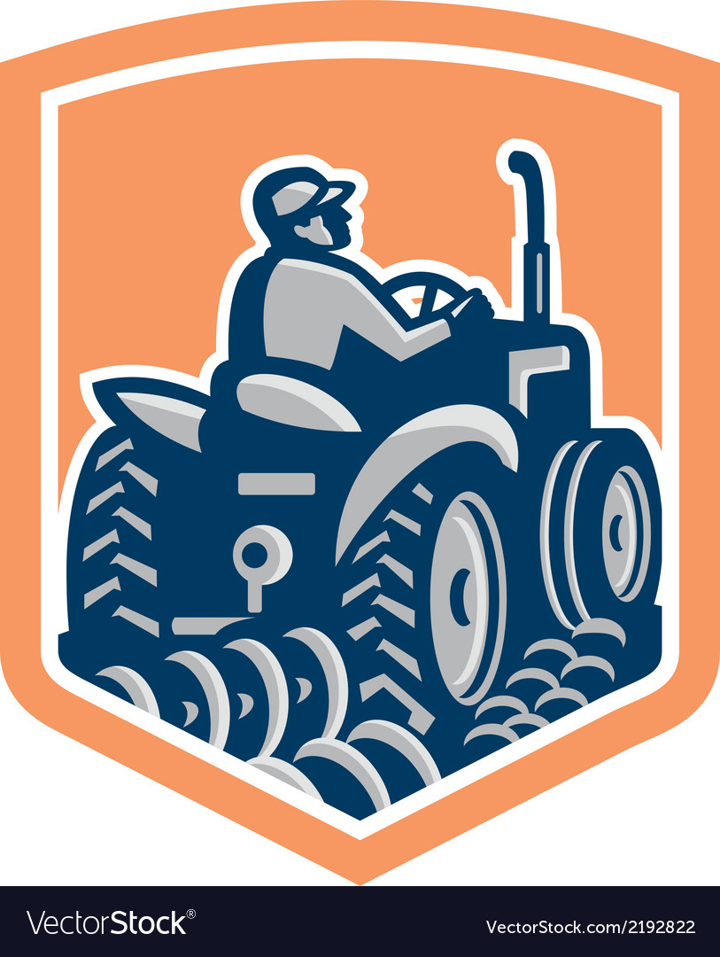 Farmer driving tractor plowing rear shield retro vector | Price: 1 Credit (USD $1)