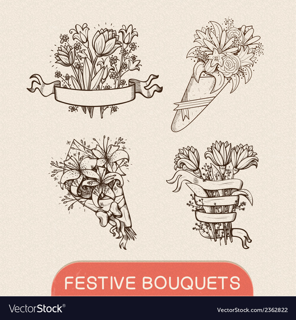 Festive holiday flower bouquets collection vector | Price: 1 Credit (USD $1)