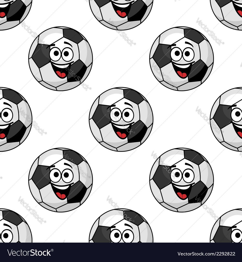 Laughing cartoon soccer ball seamless pattern vector | Price: 1 Credit (USD $1)