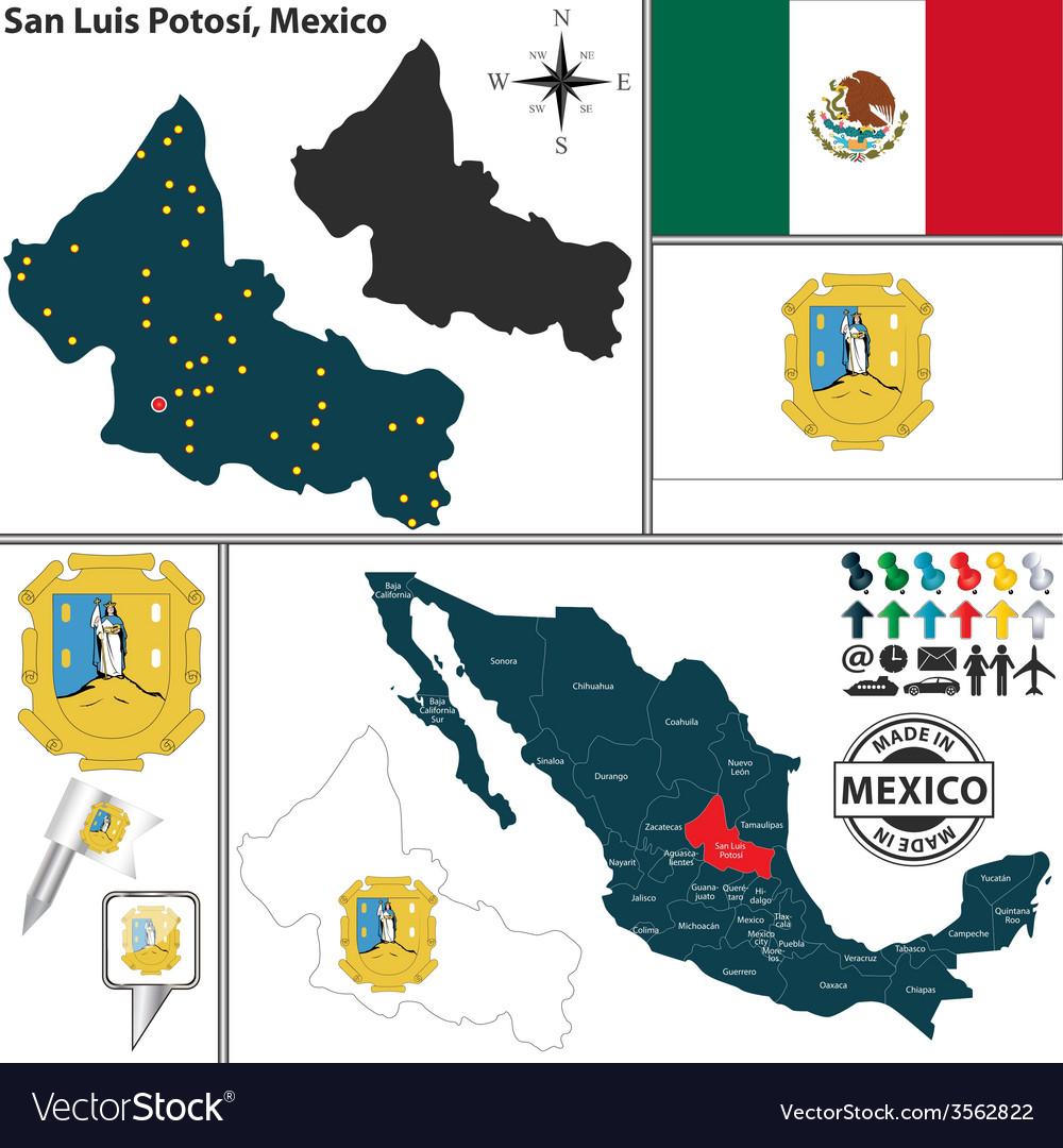 Map of san luis potosi vector