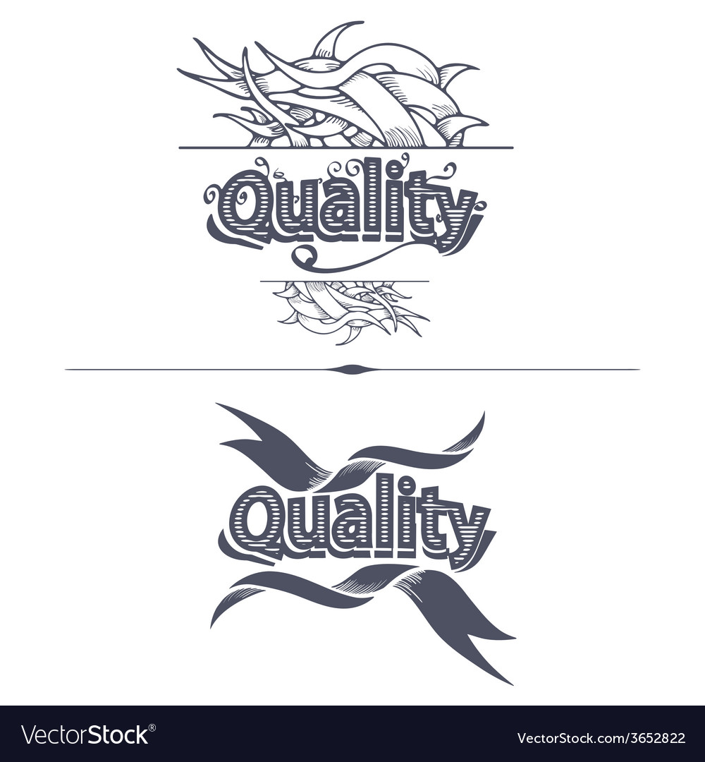 Quality label with ribbons vector | Price: 1 Credit (USD $1)