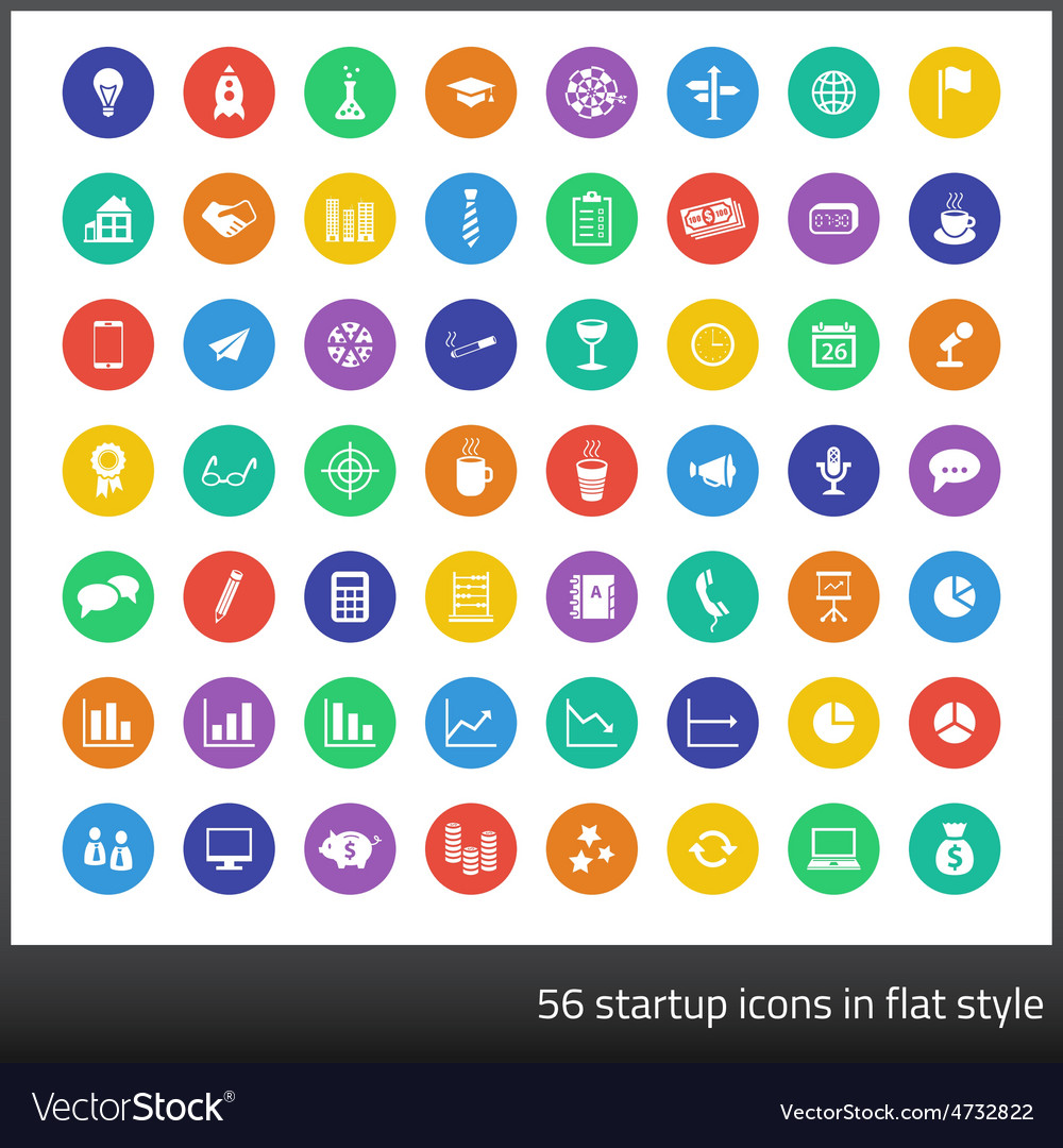 Set of 56 startup icons in flat style vector