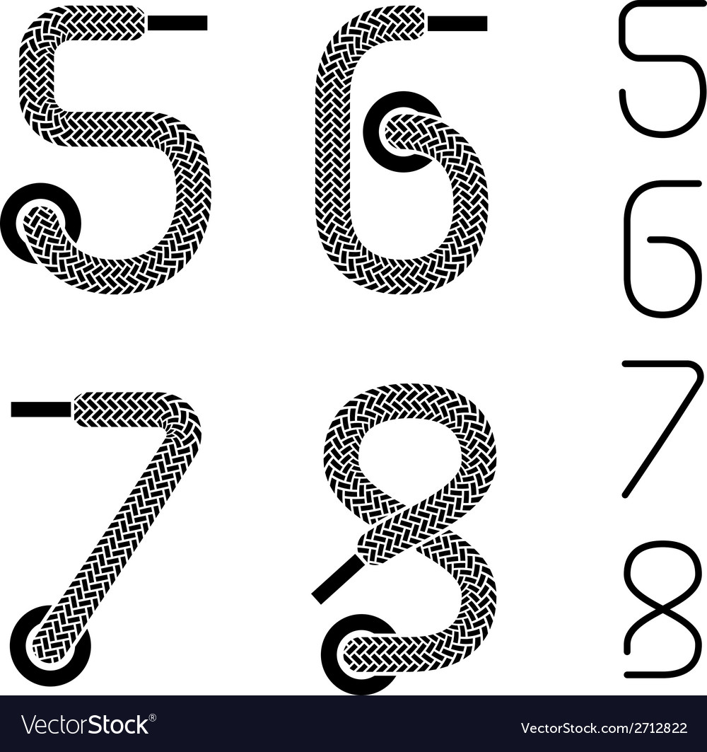 Shoe lace numbers 5 6 7 8 vector | Price: 1 Credit (USD $1)
