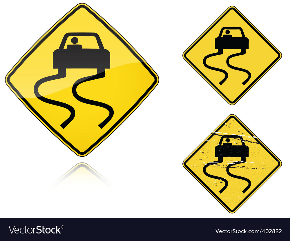 Slippery when wet road sign vector | Price: 1 Credit (USD $1)