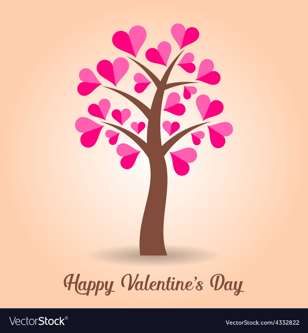 Valentine card with tree vector | Price: 1 Credit (USD $1)