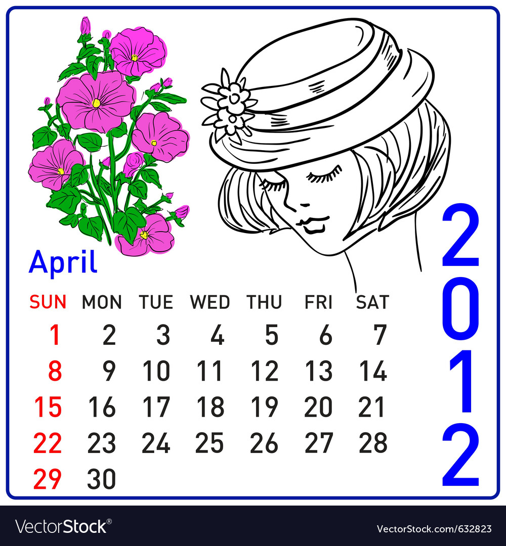 2012 year calendar in april vector | Price: 1 Credit (USD $1)