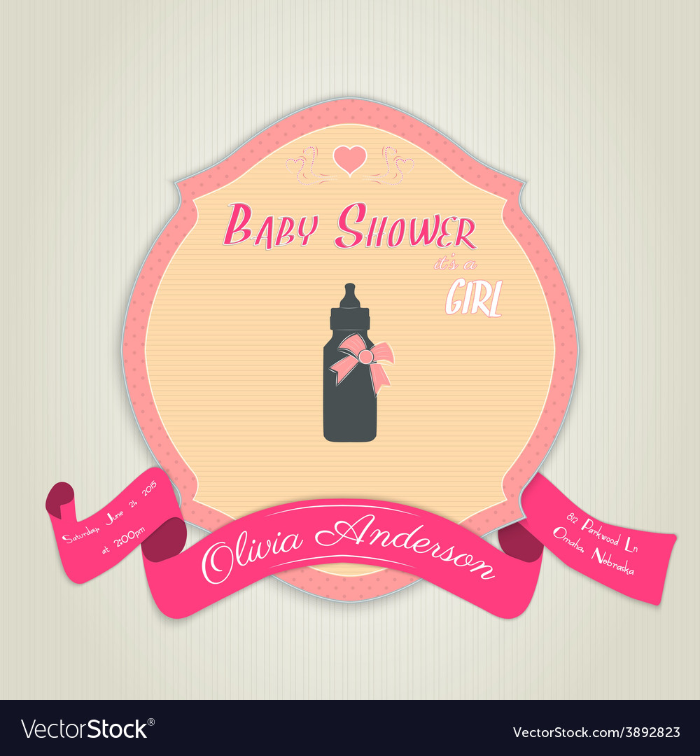 Baby shower invitation with baby milk bottle vector   Price: 1 Credit (USD $1)