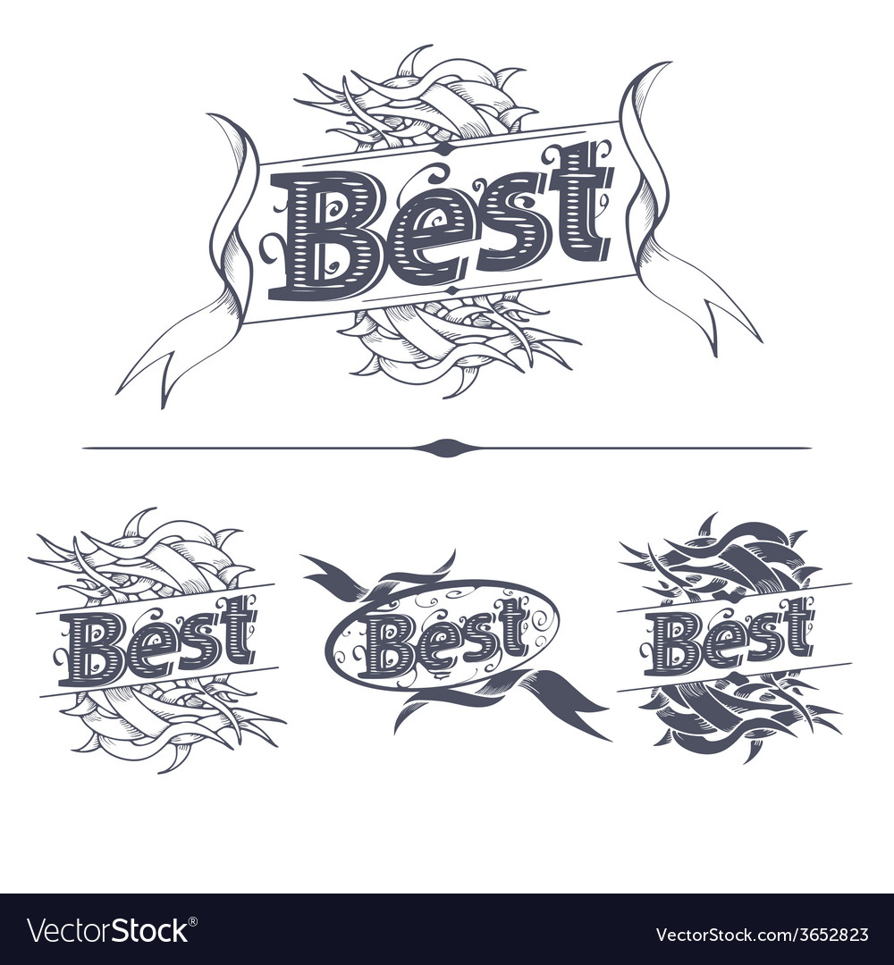 Best label with ribbons vector | Price: 1 Credit (USD $1)