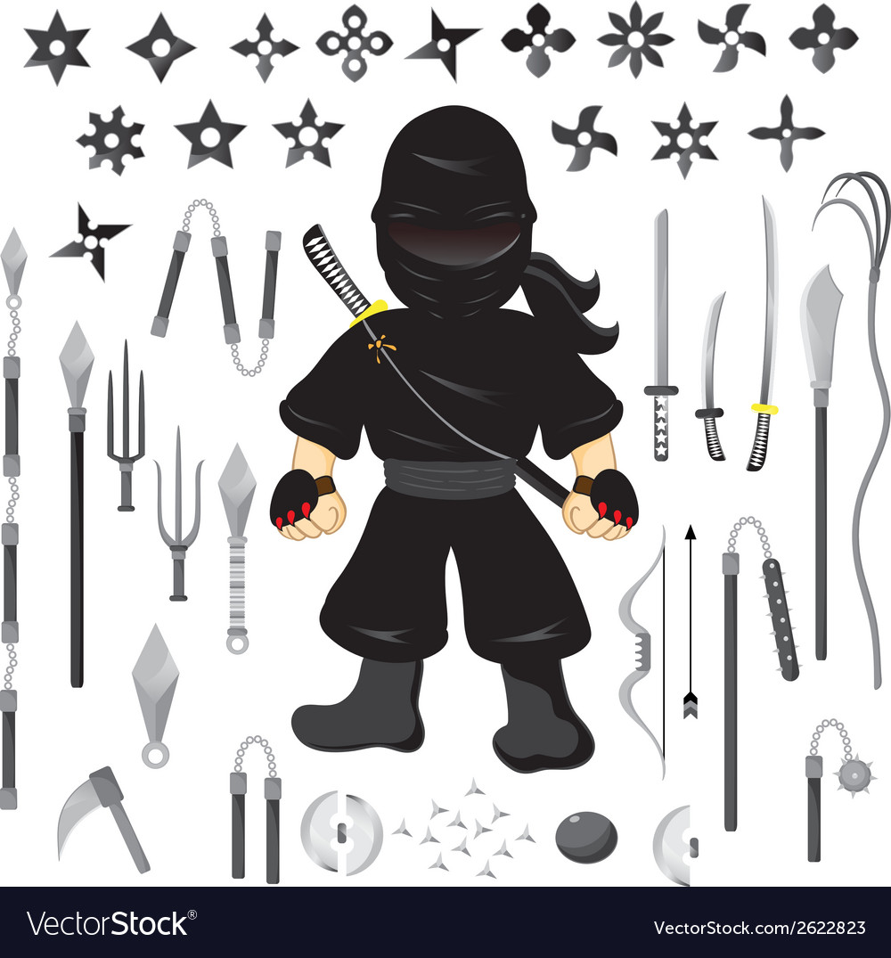 Character ninja and weapon cartoon vector | Price: 1 Credit (USD $1)