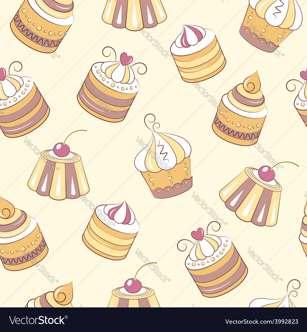 Cupcakes seamless pattern vector | Price: 1 Credit (USD $1)