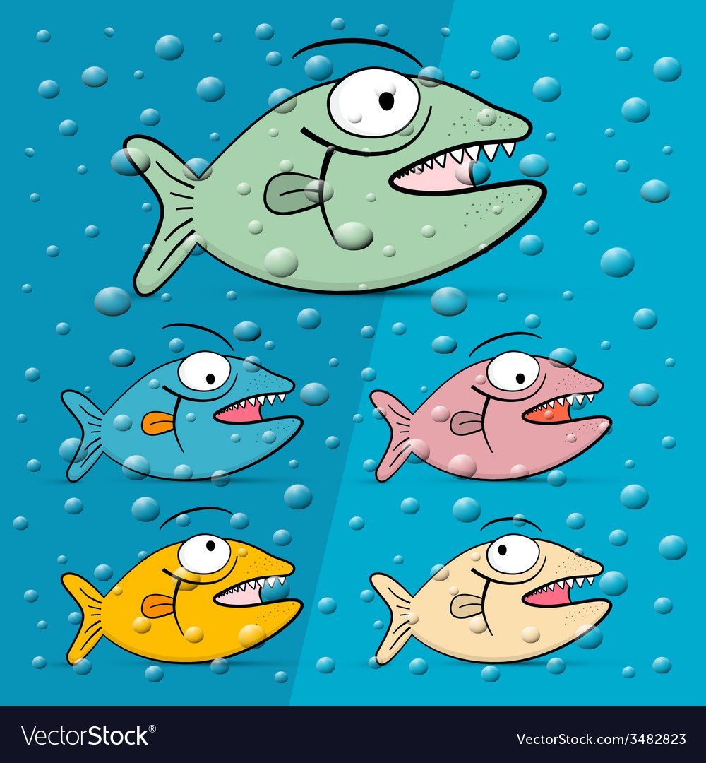 Fish in blue bubble water vector | Price: 1 Credit (USD $1)