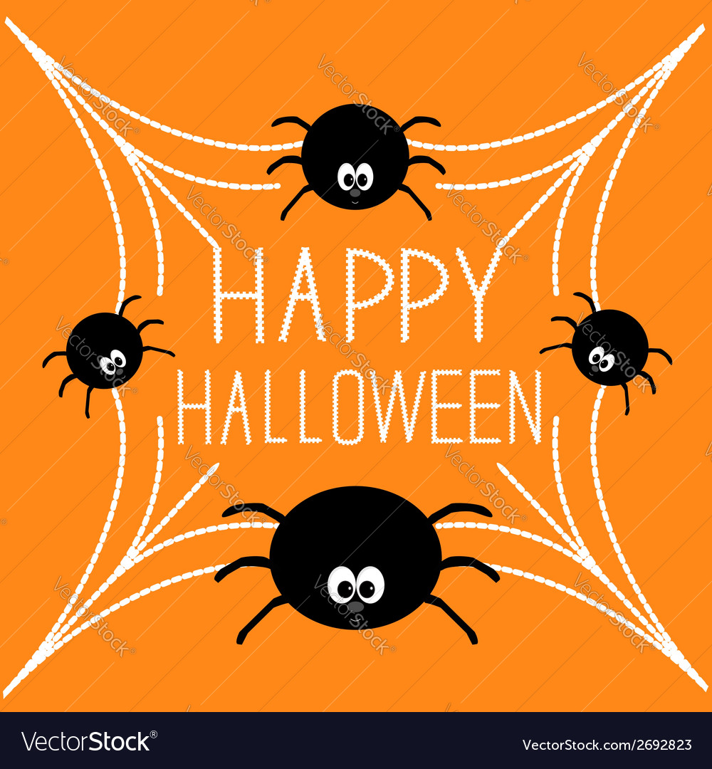 Four cartoon spider on the web halloween card vector | Price: 1 Credit (USD $1)