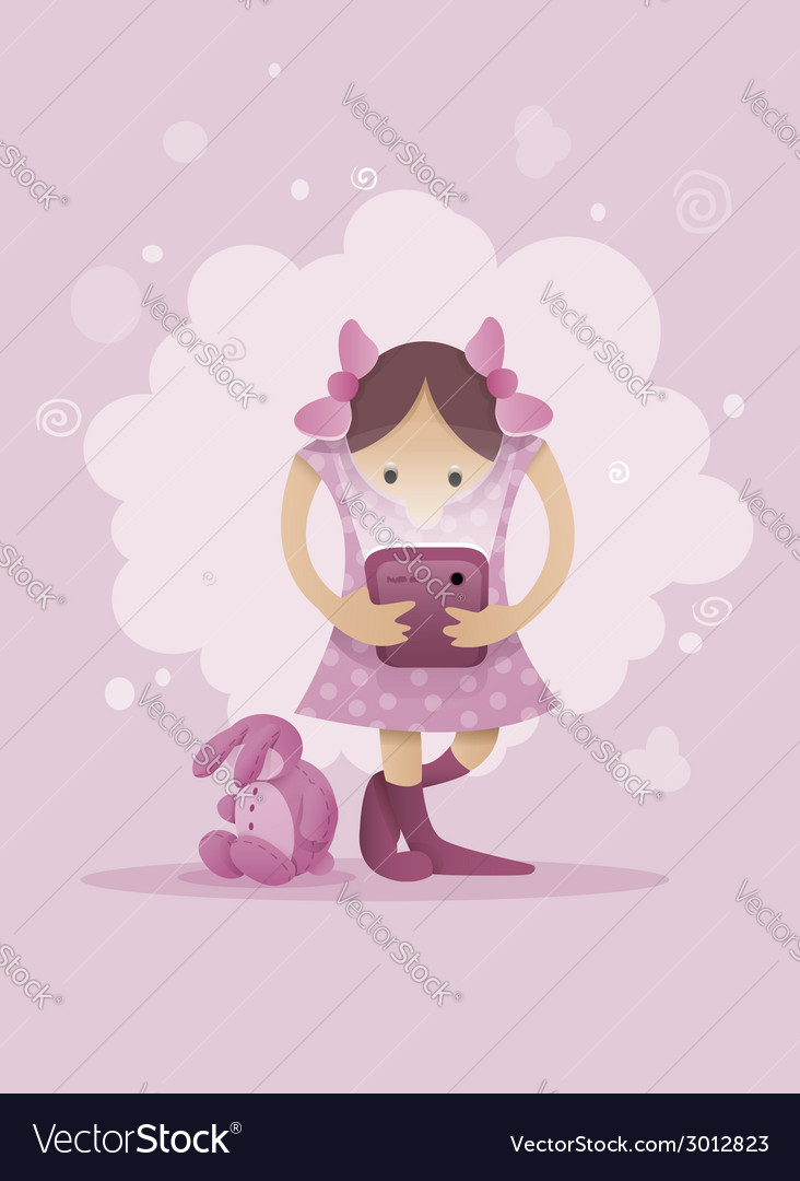 Girl playing with smartphone vector | Price: 1 Credit (USD $1)