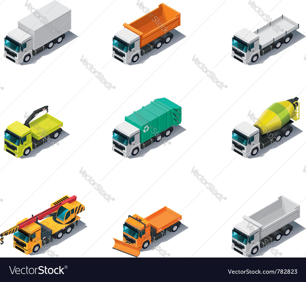 Isometric trucks vector | Price: 3 Credit (USD $3)