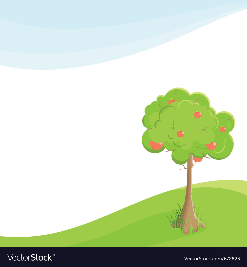 Lone apple tree in a field under blue sky vector | Price: 1 Credit (USD $1)